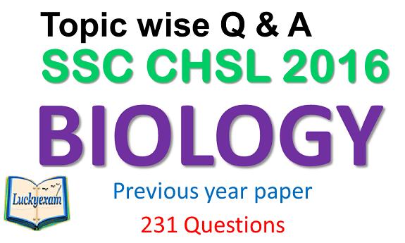 SSC CHSL Science (biology) 2016 Question Paper