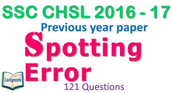 SSC CHSL 2016 - 17 Spotting Error English