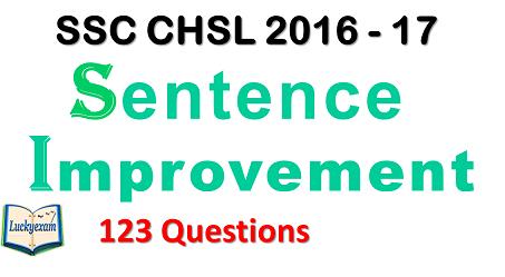 SSC CHSL 2016-17 Sentence improvement
