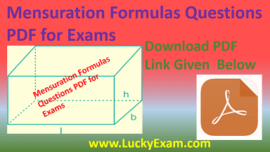 Mensuration Formulas Questions PDF for Exams