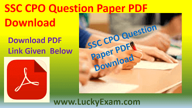 SSC CPO Question Paper PDF Download