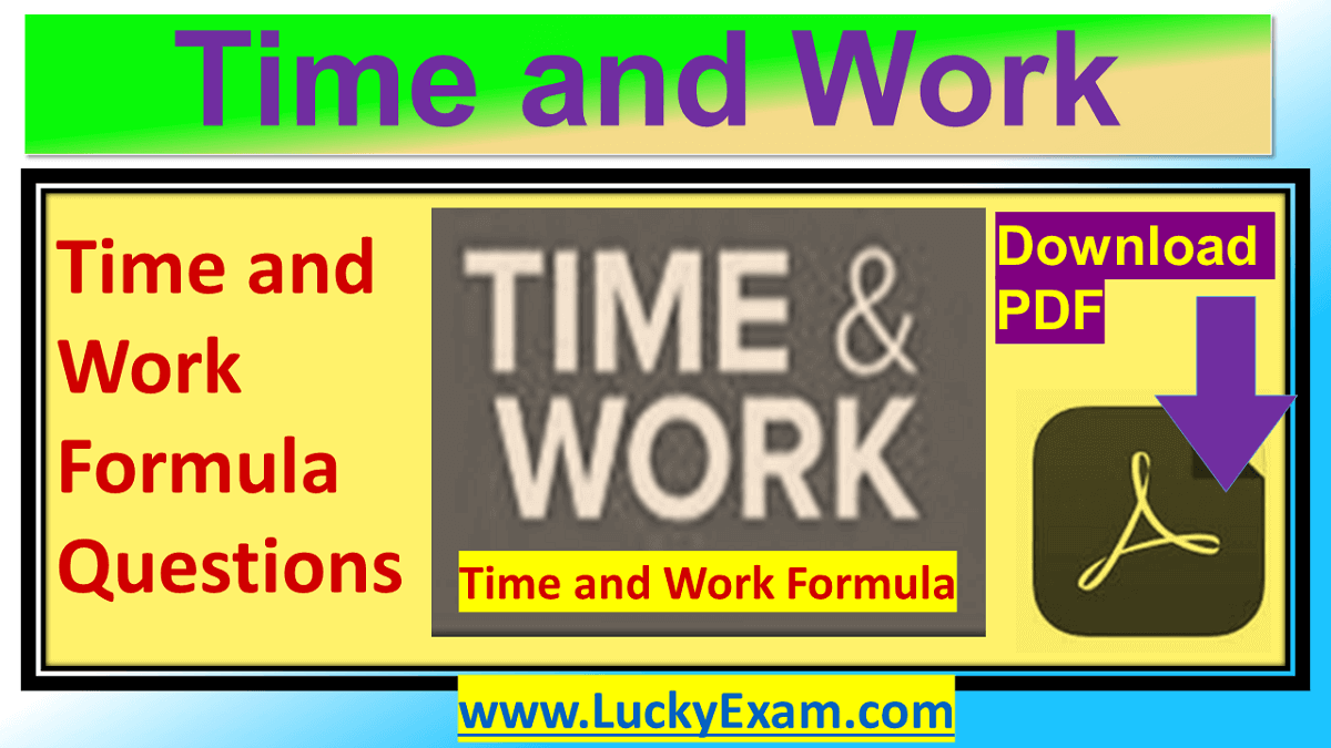 Time and Work Formula Questions PDF in Hindi