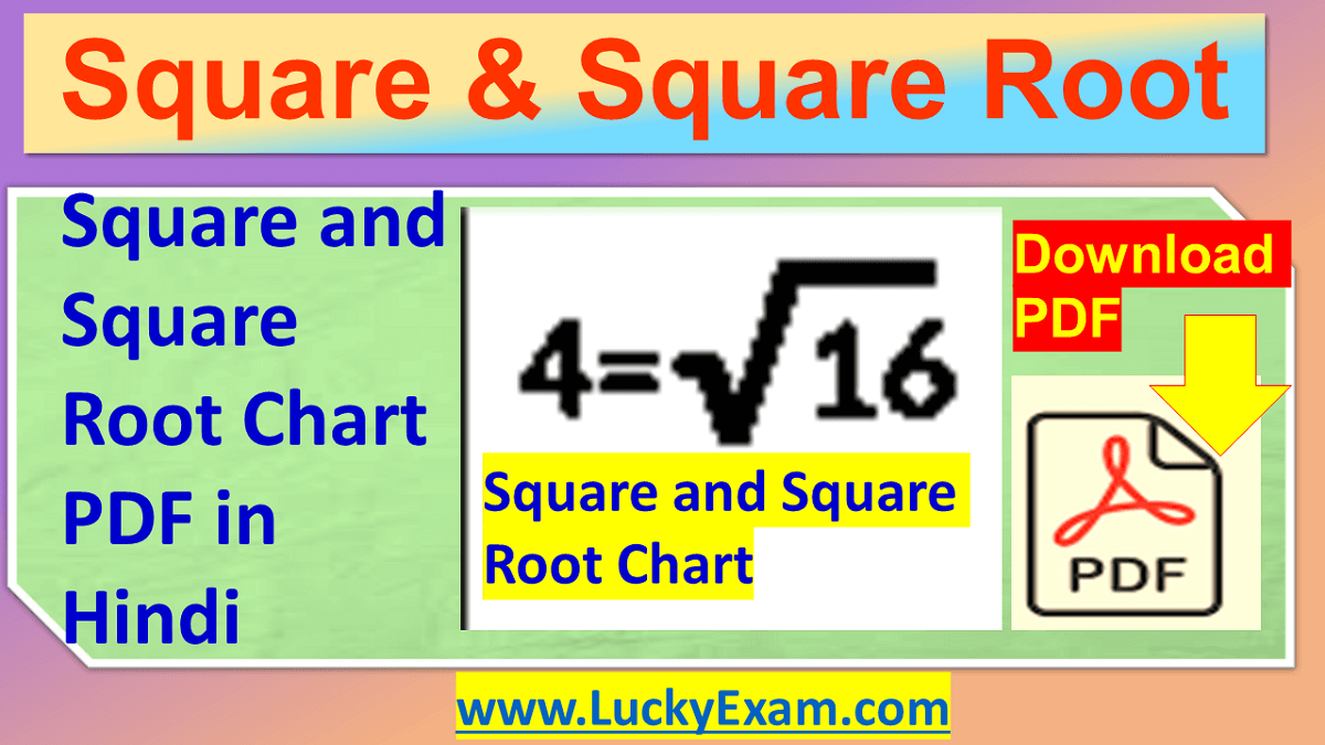 Square and Square Root Chart PDF in Hindi