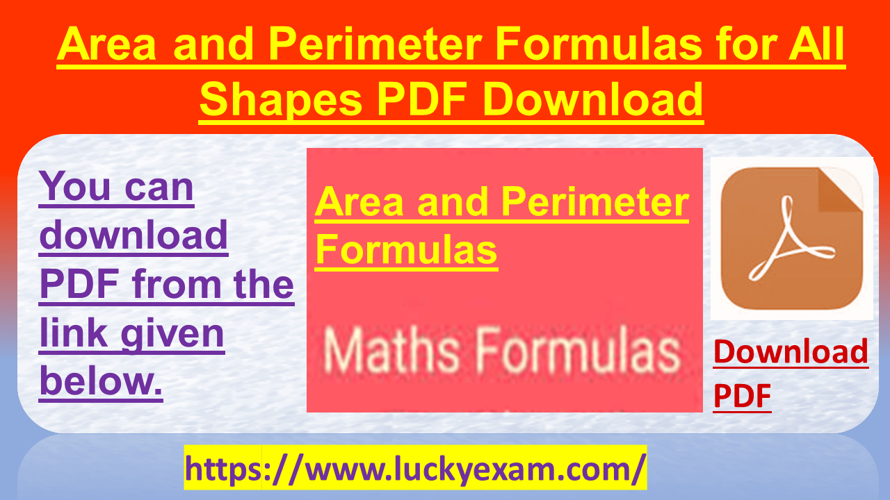 Area and Perimeter Formulas for All Shapes PDF Download