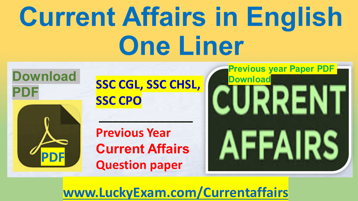 Current Affairs in English One Liner PDF Download Monthly Chapterwise