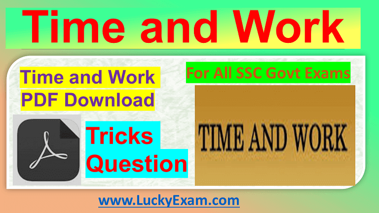 Time and Work Question tricks PDF