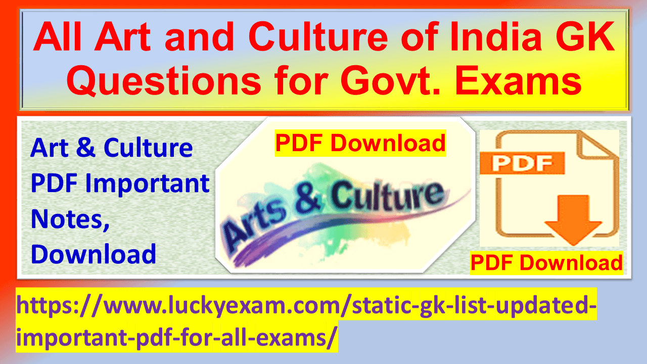 All Art and Culture of India GK Questions for Govt. Exams