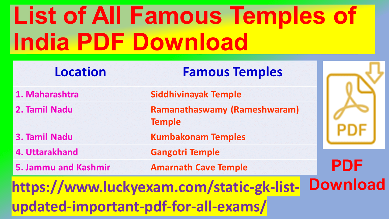 List of All Famous Temples of India PDF Download