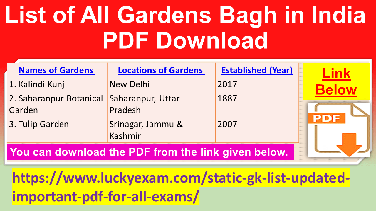List of All Gardens Bagh in India PDF Download