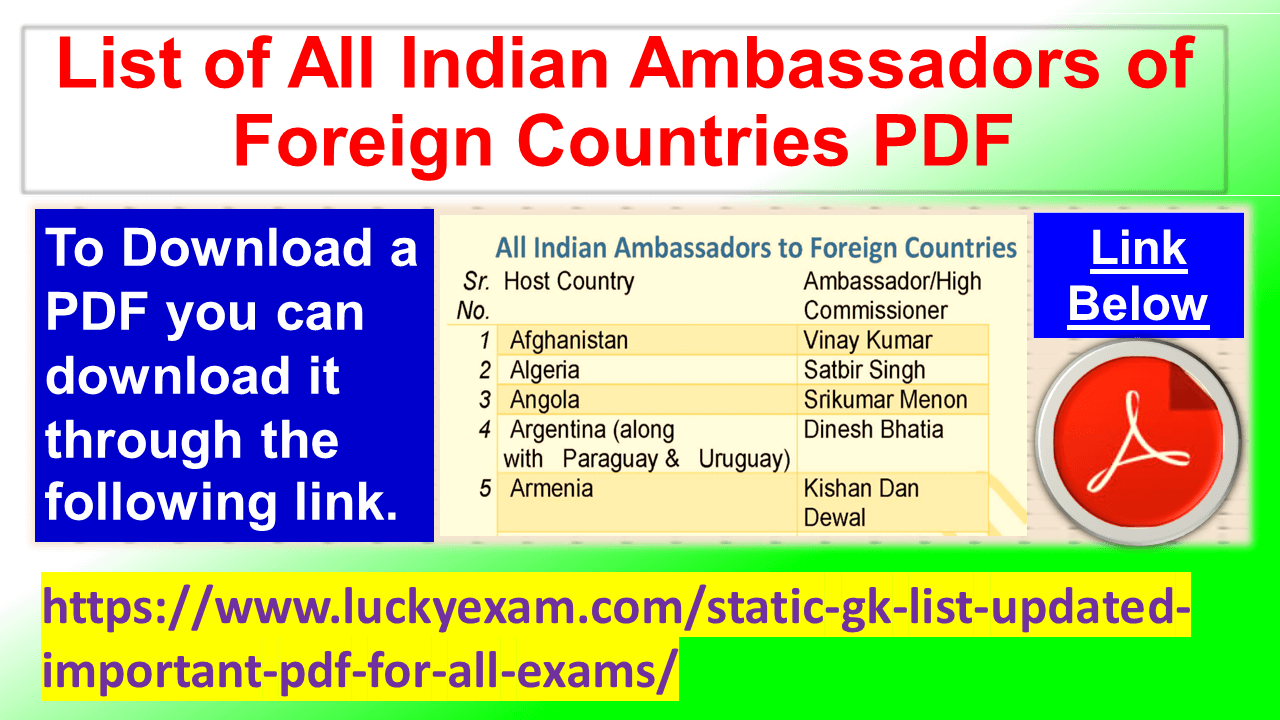 List of All Indian Ambassadors of Foreign Countries PDF