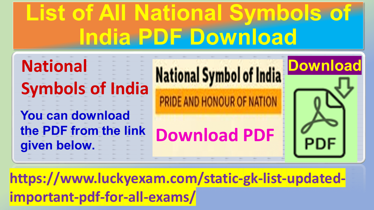 List of All National Symbols of India PDF Download