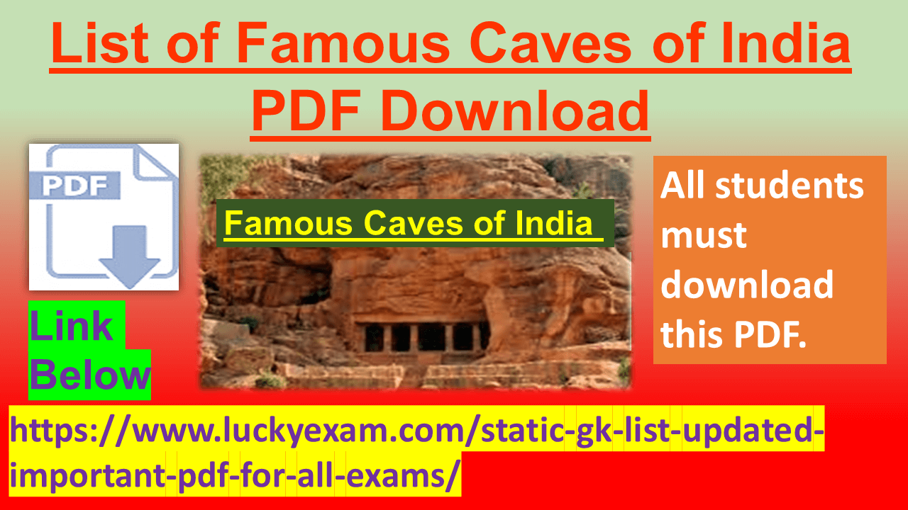 List of Famous Caves of India PDF Download
