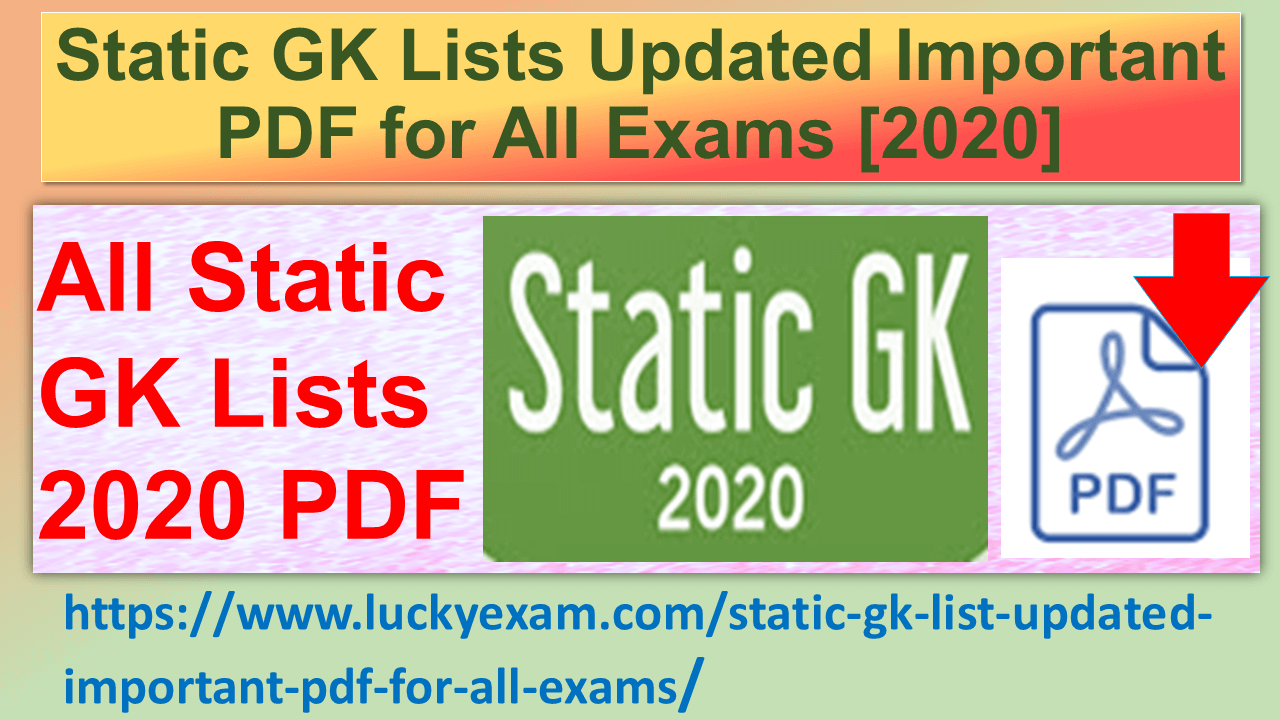 Important Static GK List updated or Static GK Lists Updated Important PDF for All Exams [2020]