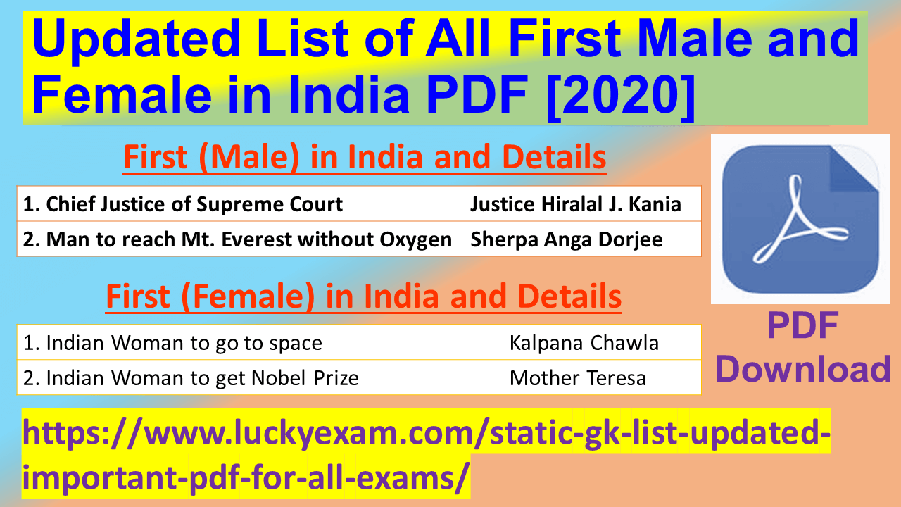 Updated List of All First Male and Female in India PDF [2020]