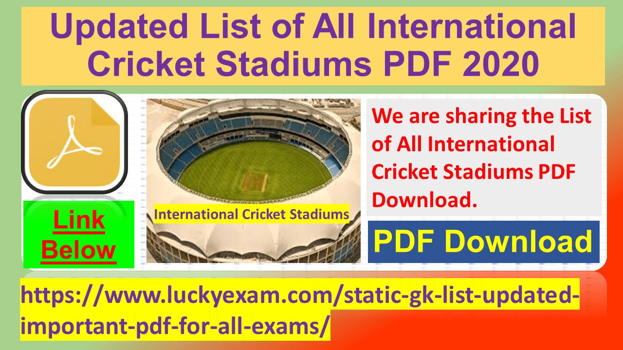 Updated List of All International Cricket Stadiums PDF 2020