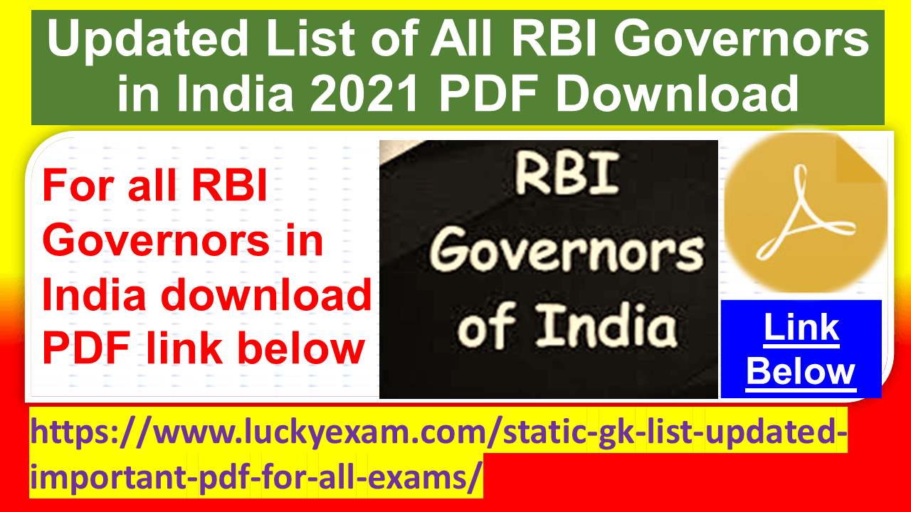 Updated List of All RBI Governors in India 2021 PDF Download