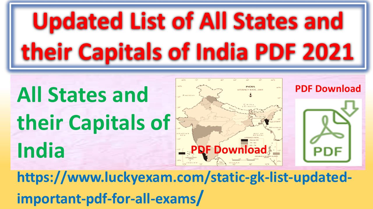 Updated List of All States and their Capitals of India PDF 2021