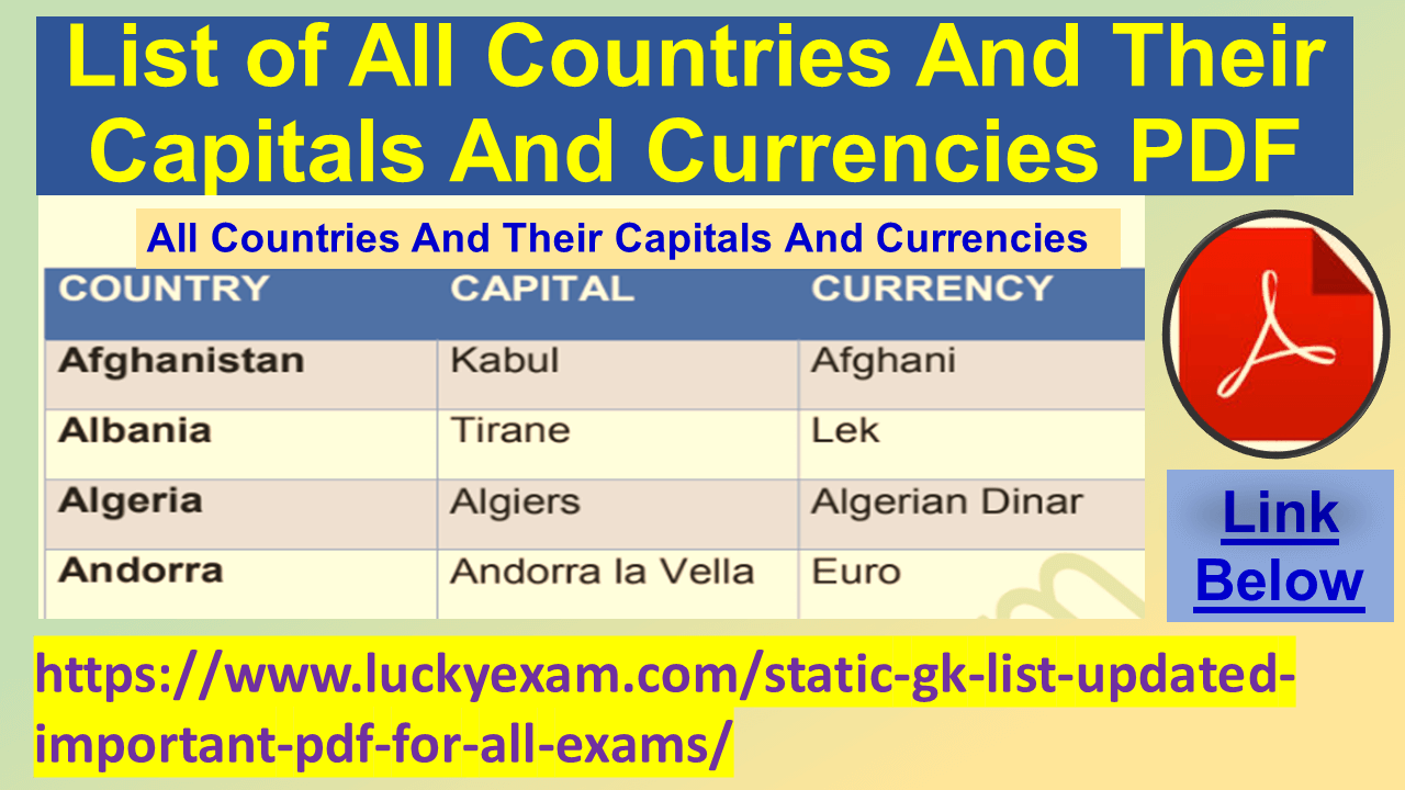 List of All Countries And Their Capitals And Currencies PDF