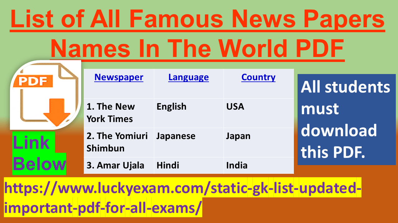 List of All Famous News Papers Names In The World PDF