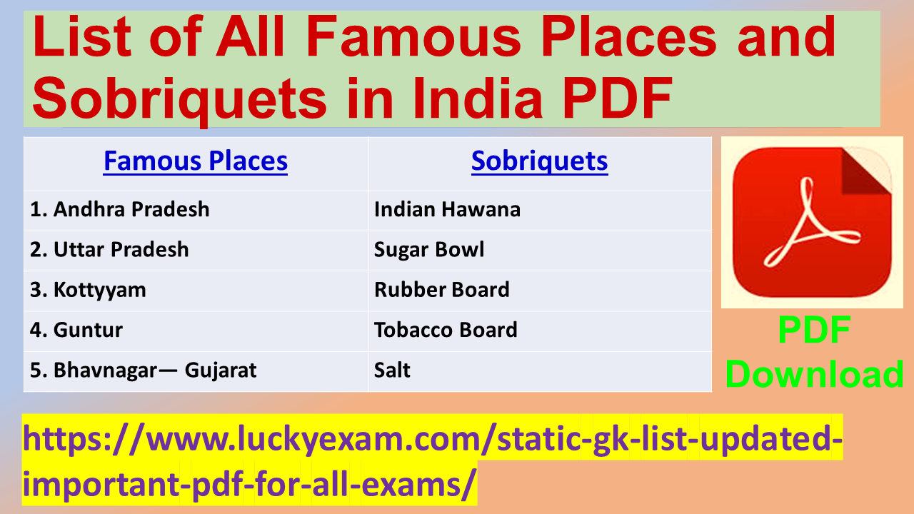 List of All Famous Places and Sobriquets in India PDF