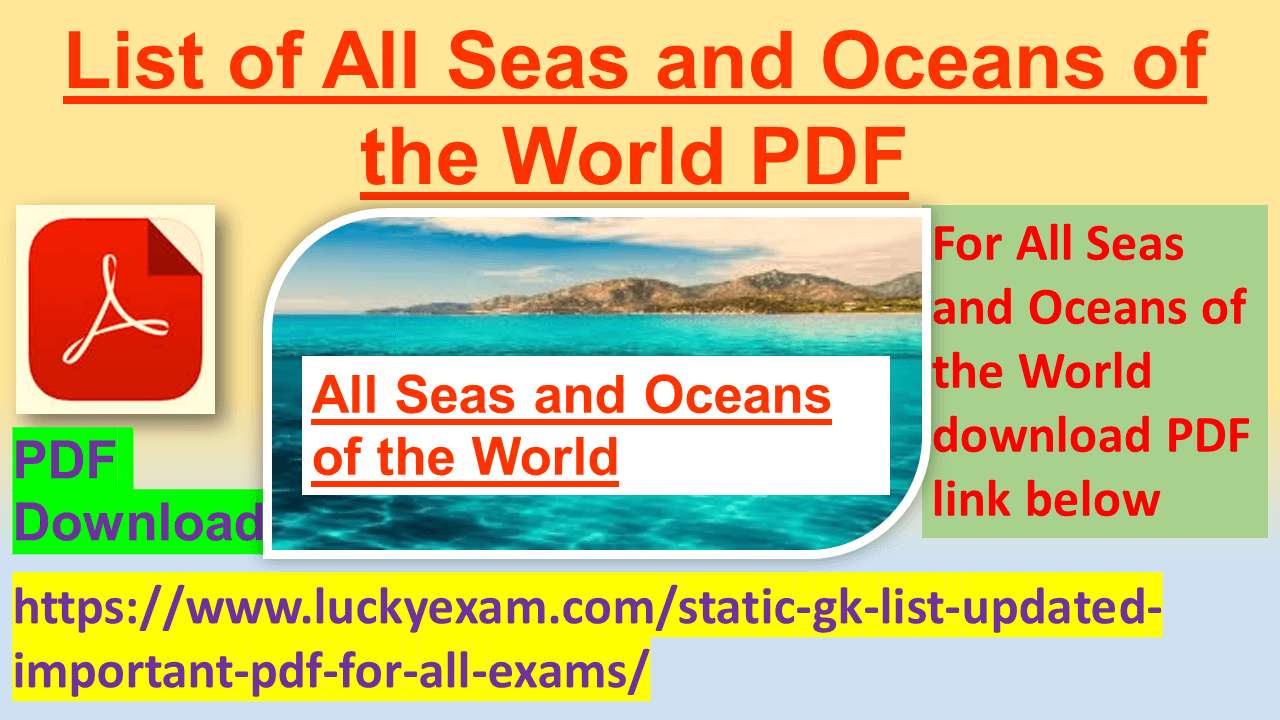 List of All Seas and Oceans of the World PDF