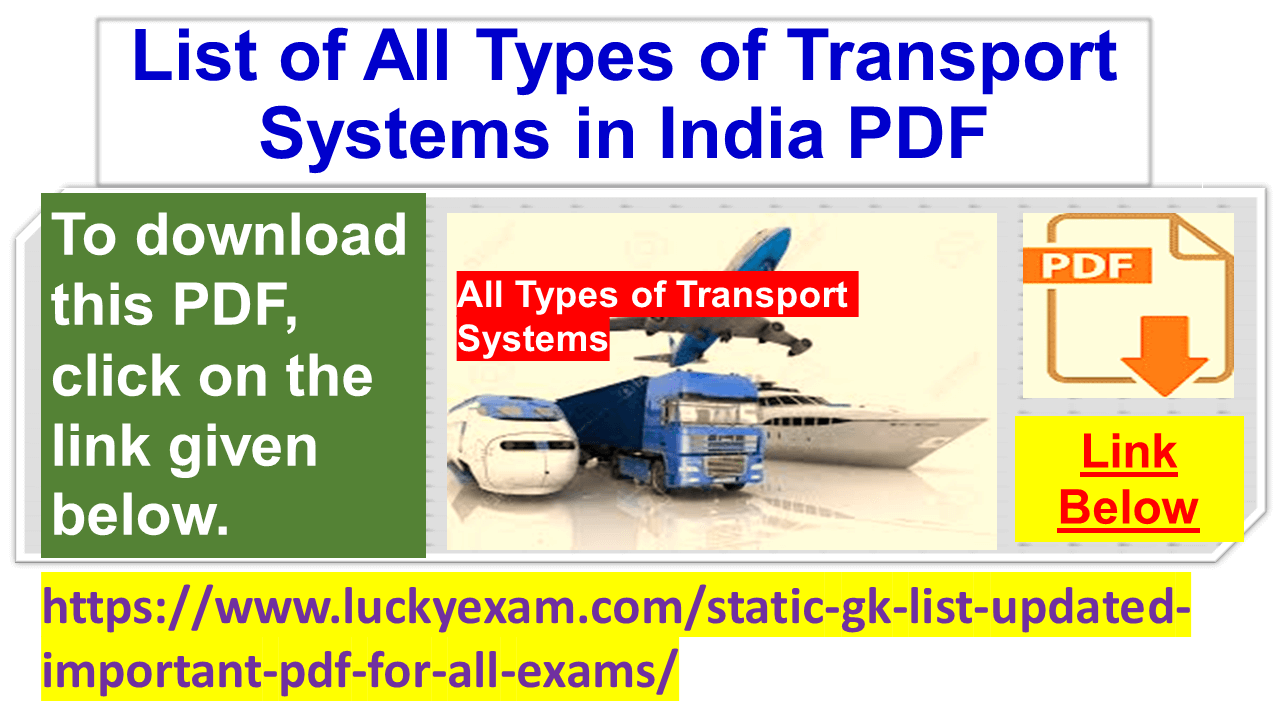List of All Types of Transport Systems