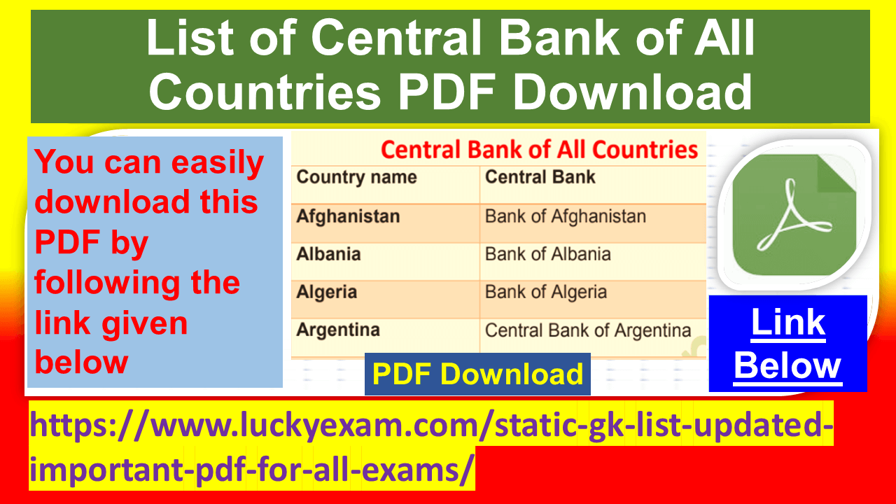 List of Central Bank of All Countries PDF Download