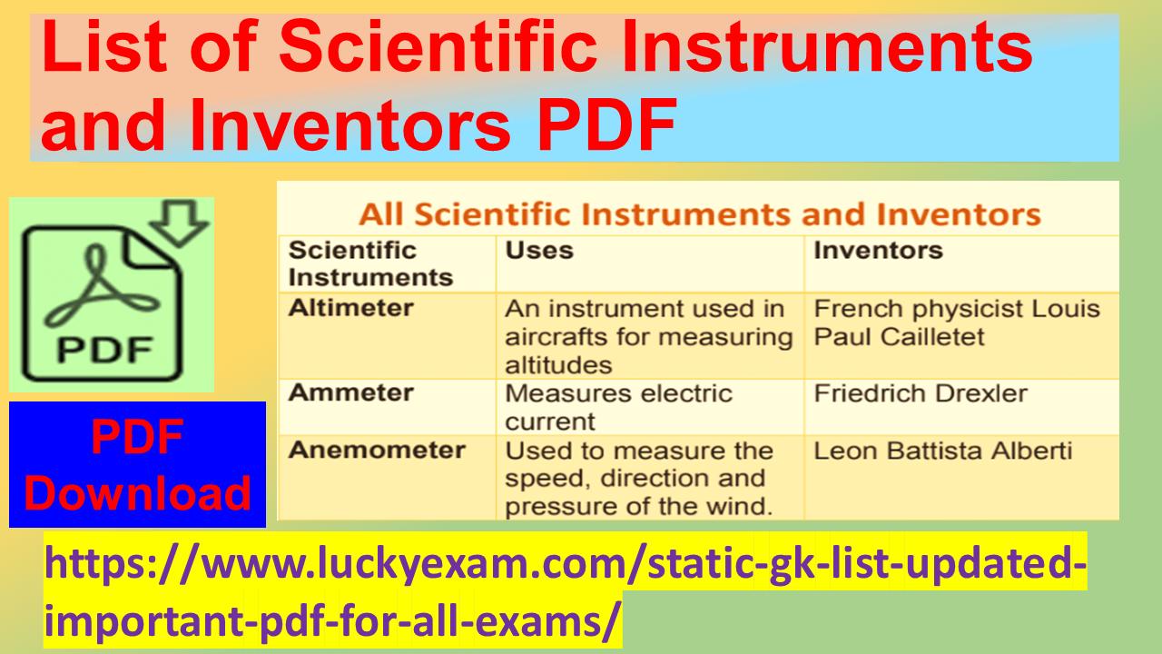 List of Scientific Instruments and Inventors PDF