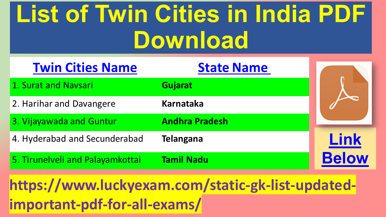 List of Twin Cities in India PDF Download