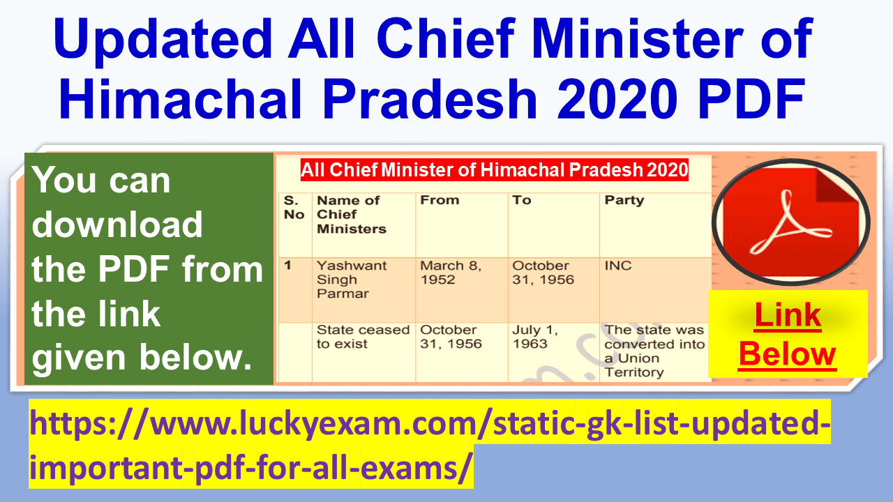 Updated All Chief Minister of Himachal Pradesh 2020 PDF