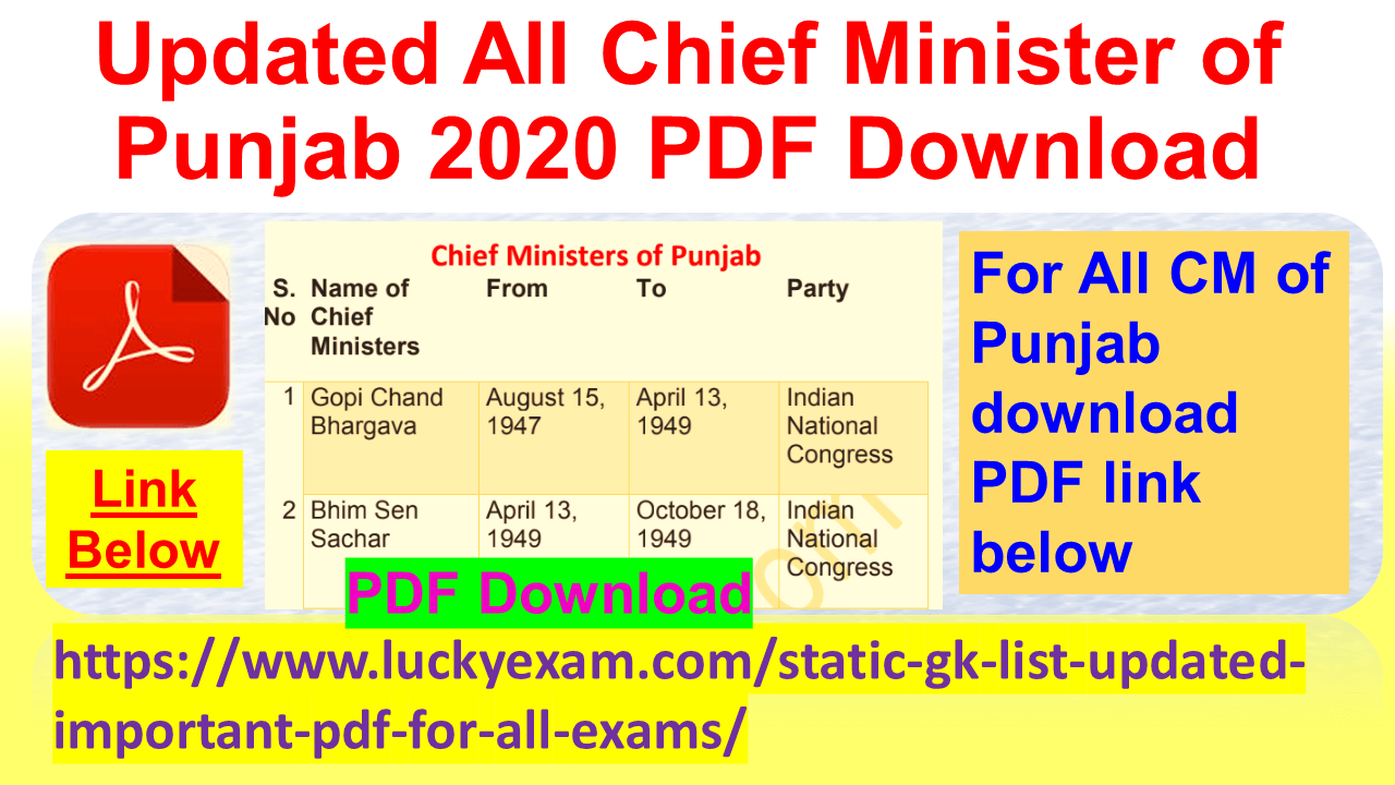Updated All Chief Minister of Punjab 2020 PDF Download