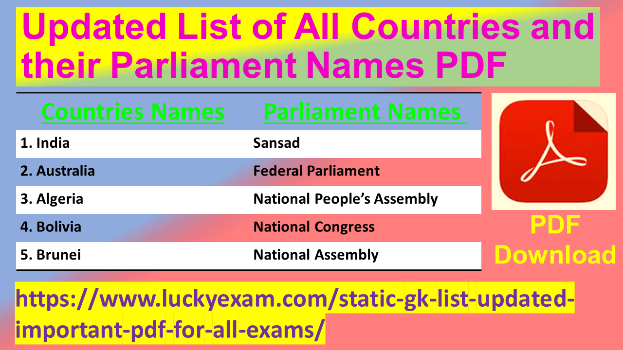 Updated List of All Countries and their Parliament Names PDF