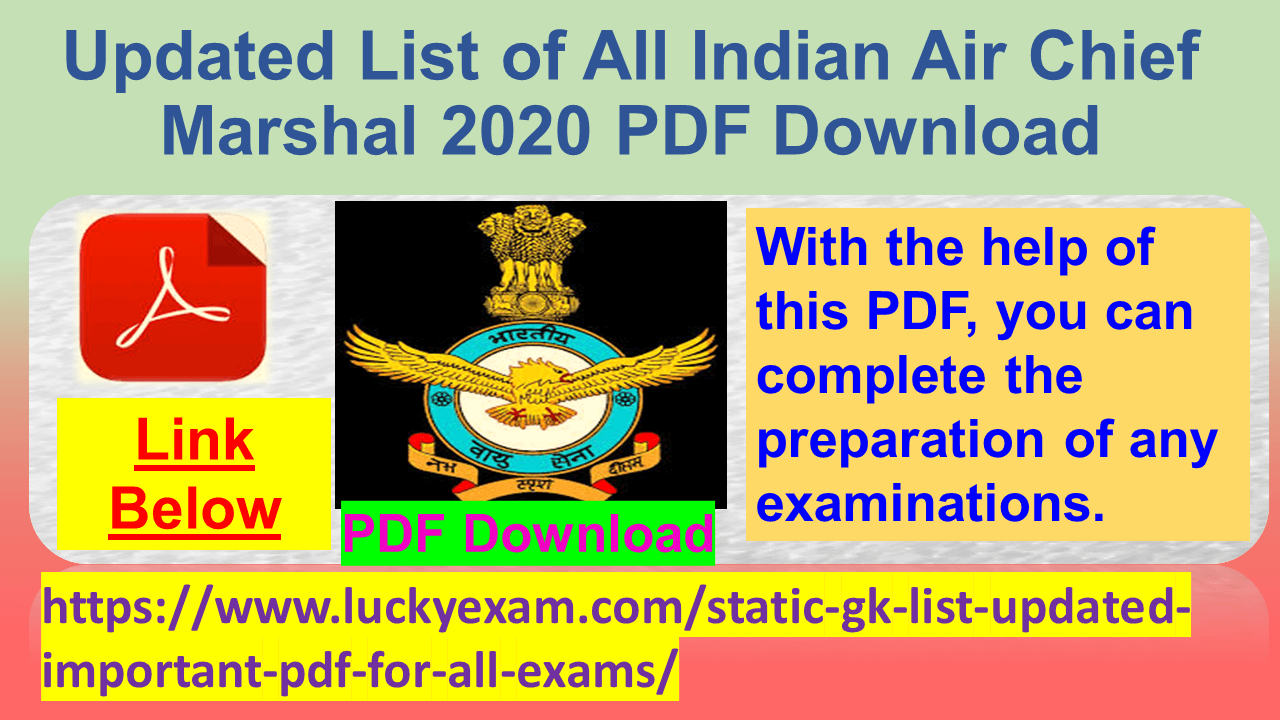 Updated List of All Indian Air Chief Marshal 2020 PDF Download