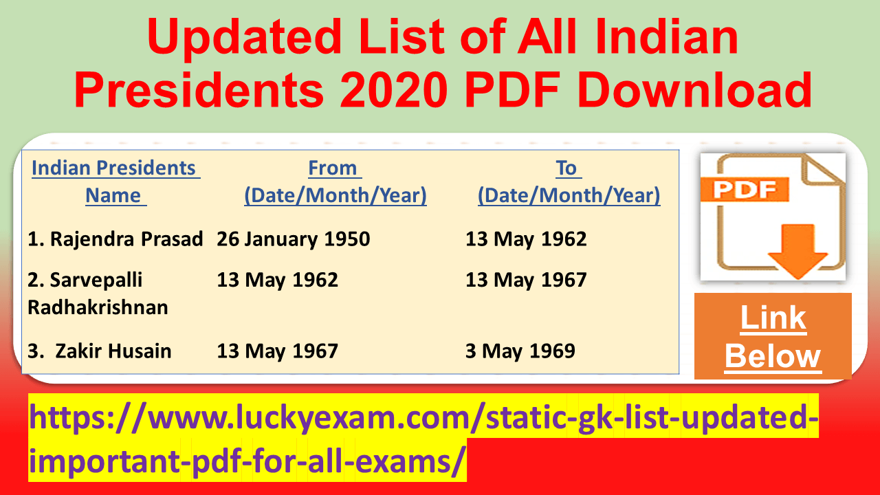 Updated List of All Indian Presidents 2020 PDF Download