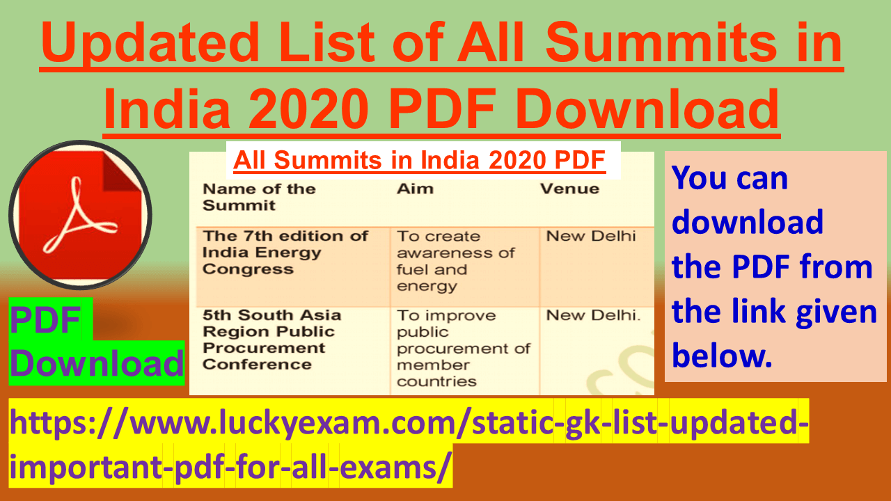 Updated List of All Summits in India 2020 PDF Download