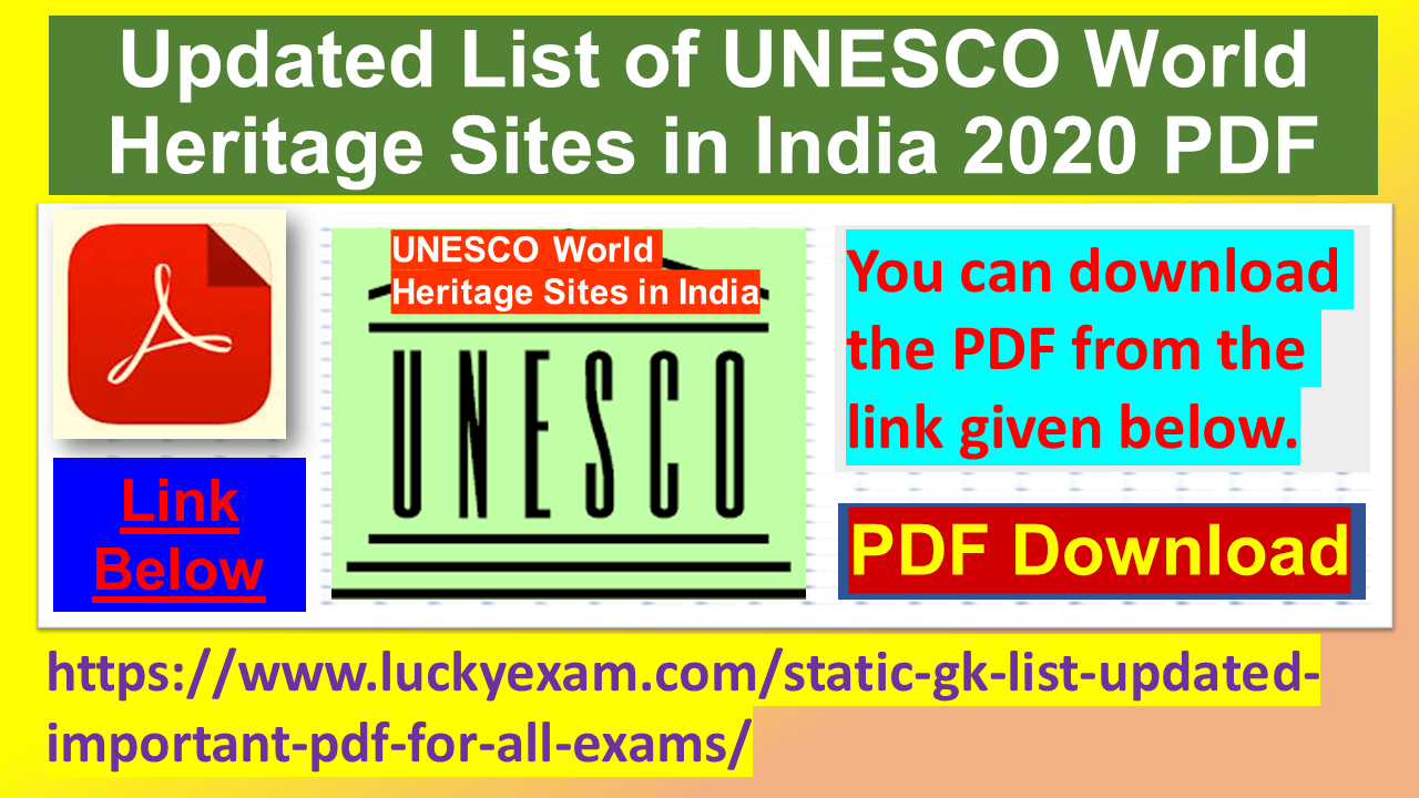 Updated List of UNESCO World Heritage Sites in India 2020 PDF