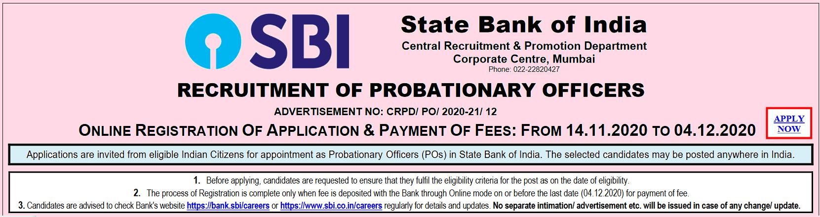 SBI PO Post Recruitment Online Form 2020